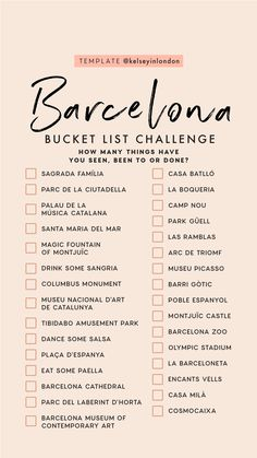 Top things to do in Barcelona - Barcelona Bucketlist - Instagram Story Template - kelseyinBarcelona - Kelsey Heinrichs - What to do in Barcelona - Where to go in Barcelona - top places in Barcelona Travel To Italy, Us Travel, Spain Travel, Travel List, Travel Goals, Travel Bugs, Places To Travel, Travel Destinations, I Want To Travel
