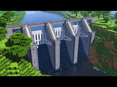 How To Build a WATER DAM in Minecraft w/ You guys requested this so much, omg. So here it is, im gonna show you how to build a water dam in minecraft. Minecraft Modern, Minecraft Plans, Amazing Minecraft, Minecraft House Designs, Minecraft Blueprints, Minecraft Creations, Minecraft Bridges, Minecraft City Buildings, Minecraft Structures