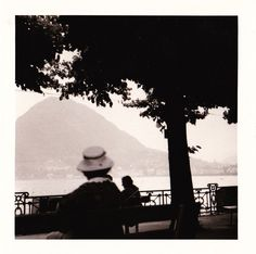 Vintage 1960s B&W Photo of Woman in Mountain Lake Scene St. Moritz