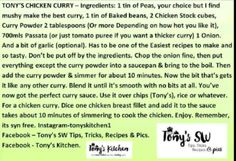 Tonys kitchen chicken curry