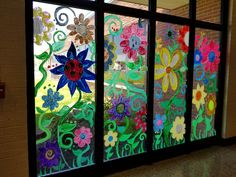 Window Murals - Miss Frey's Art Class Window Decorating, Window Mural, Just Amazing, Flower Crafts, Decoration, Bulletin Boards, Kids Crafts, Murals, Nursing