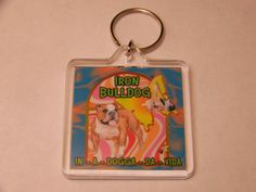 Keychain Iron Butterfly Doggie Style Iron Bulldog by PSYCHOPUPPY, $5.00
