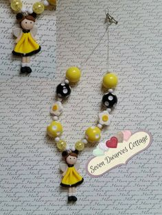 Bumble Bee Fairy Girl chunky necklace   Check out this item in my Etsy shop https://www.etsy.com/listing/231182596/bumble-bee-fairy-girl-chunky-bubblegum