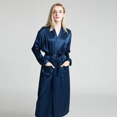 59dae74206 22 Momme Elegant Long Silk Robe With Belt