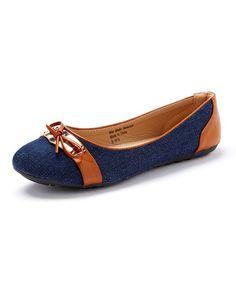 Another great find on #zulily! Denim Blue & Cognac Bow Flat #zulilyfinds