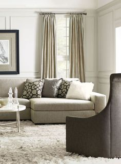 Bernhardt | Orlando Sectional Sofa, Maurice Swivel Chair, Clarion Round Cocktail Table