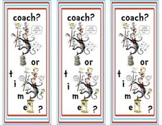 "Dr. Seuss bookmarks: Cafe/Daily 5 style- ""coach or time"""