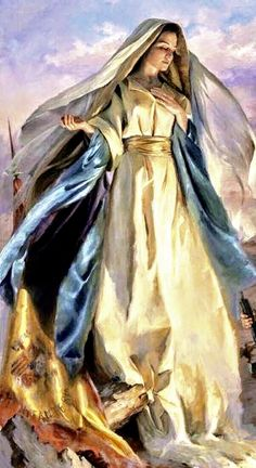 Clothe and Protection with the Shield of Your Immaculate Conception, Virgin Mother of Jesus. Roman Catholic Prayers, Catholic Art, Catholic Saints, Religious Art, Blessed Mother Mary, Divine Mother, Blessed Virgin Mary, Virgin Mary Art, Mother Teresa