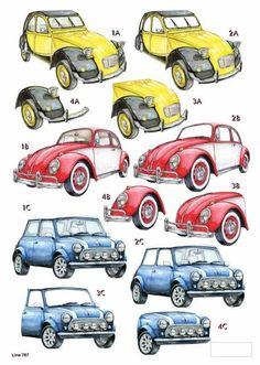 A4 3D die cut decoupage - Mens Machines - Retro Cars: