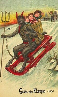Click to see some terrifying vintage postcards of Krampus, the Christmas devil. via Buzzfeed