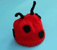 Knit Baby Hat - Newborn - Ladybug Adventure Hat - Red with Black Polka Dots. $20.50, via Etsy.