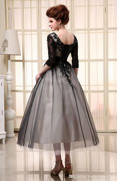 New 2015 Plus Size A Line Wedding Dresses with Sleeves Black White Short Bridal Ball Gowns Sheer Applique Ribbon Organza In Stock Black Tea Length Dress, Tea Length Cocktail Dresses, Black And White Cocktail Dresses, Cocktail Dresses Uk, Cocktail Dresses With Sleeves, Tea Length Dresses, A Line Wedding Dress With Sleeves, Vintage Inspired Wedding Dresses, Party Dresses Online