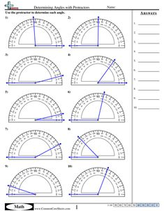 Measuring Angles With A Protractor Worksheet Angles Worksheets Free Commoncoresheets Measuring Angles With A Protractor Worksheet Geometry Worksheets, Math Worksheets, Math Resources, Geometry Activities, Measuring Angles Worksheet, Math Sheets, Math School, Math Formulas, Protractor
