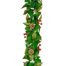 Metallic Holly Garland with Berries