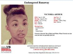 Endangered Runaway: VICTORIA ARTHUR, 13, went missing from Kansas City, Missouri on 8/18/2013.