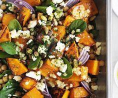 roast pumpkin, feta and chickpea salad
