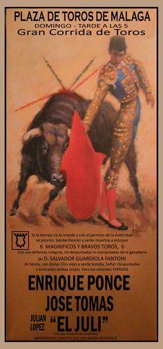 """Malaga - Enrique Ponce, José Tomás y """"El Juli"""", cartel de ensueño e irrepetible."""