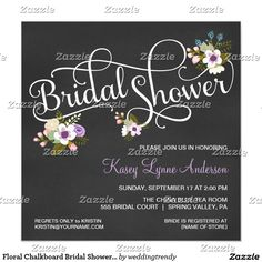 Floral Chalkboard Bridal Shower Invitations. Elegant Chalkboard Bridal Shower Invitation Templates. Classy bridal shower invitations that you can order online. Customized for the new bride to be. Elegant bridal shower invitation that feature a nice chalkboard background, great design and typography. Click to customize. Feel free to like or repin.