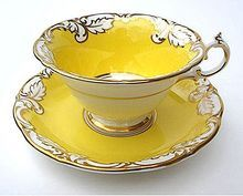 Exceptional Vintage Paragon Yellow, Gold & White Cup And Saucer - delishioso!