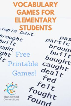 Effective, Fun Vocabulary Games for Elementary Students. Learn new vocabulary words and play games that help students to become better readers and writers. Vocabulary Games For Kids, New Vocabulary Words, Vocabulary Strategies, Learning Games For Kids, Educational Activities For Kids, Spelling Activities, Listening Activities, Teaching Vocabulary, Teaching Language Arts