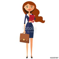 Vector: Business carroty lady office worker secretary vector flat cartoon illustration