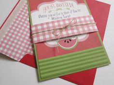 Watermelon Picnic  Invitations for Birthday or Party - Made to Order. $70.00, via Etsy.