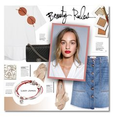 """""""BEAUTY RULES - LIZZY JAMES"""" by defivirda ❤ liked on Polyvore featuring Current/Elliott, Victoria, Victoria Beckham, Bobbi Brown Cosmetics, Miu Miu, Chanel, Lizzy James and Oliver Peoples"""