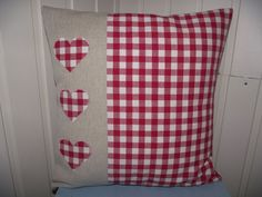 CUSHION COVER with LAURA ASHLEY Red Gingham & Natural Linen Heart 16