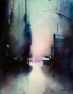 Lonely street, Aitor Renteria | Callejón solitario. Acuarela sobre papel, 44x33 cm