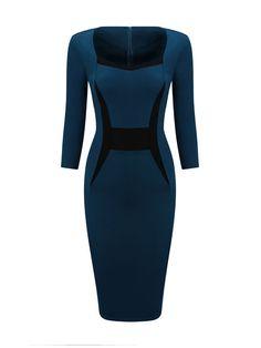 Elegant Sweet Heart Slit Color Block Bodycon Dress