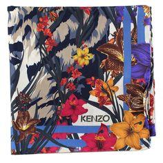 0295f5eea Kenzo Women Scarf White Navy Flowers & Tiger - Large Silk Square Scarf  | Sale. Como Milano