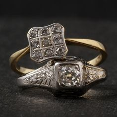 This Edwardian ring is fashioned in 14k white gold and set with a .28ct old…