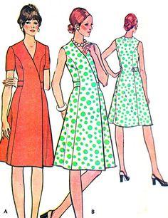 70er Jahre Kleid Muster McCalls 3986 Prinzessin Naht Tag oder Abend Wrap Kleid Womens Vintage nähen Muster Büste 32 1/2 Uncut