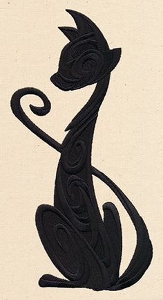 Sassy Cat Silhouette design (UT6970) from UrbanThreads.com.  I know it's machine embroidery - but think it would be a great punchneedle pattern, too.                                                                                                                                                                                 Mais