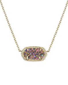This Kendra Scott classic features a vibrant, multi-color drusy stone that's sure to make any outfit shine. Lobster Claw Closure. 14k Gold Plated Brass.