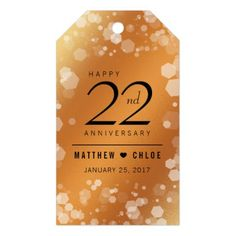 Elegant 22nd Copper Wedding Anniversary Gift Tags