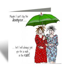 Walk in the rain Card - Camilla & Rose New Baby Cards, Your Cards, Funny Cards For Friends, Camilla Rose, Personalized Thank You Cards, Flamingo Birthday, Walking In The Rain, Brown Envelopes, Red Envelope