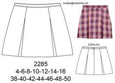 2285 Falda escolar con 2 pliegues encontrados. Telas: Casimir, escoses. Consumo talla 10: 1 mt. Talla 44: 1.15 mts. Aprox.