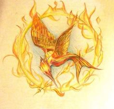 Fan art of the burning mocking jay. This is very symbolic in the book and the movie, as it represents hope and courage.