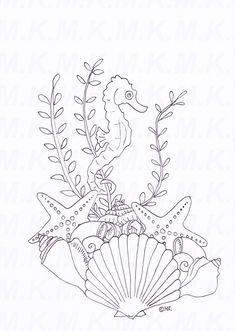Ausmalbild Seepferdchen Muscheln Meer handgemalt von LieblingsExemplar auf Etsy Doodle Zen, Sea Creatures Drawing, Seashell Painting, Machine Quilting Designs, Sea Theme, Line Design, Op Art, Line Art, Painted Rocks
