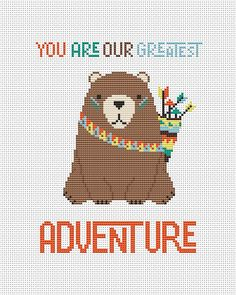 You are our greatest adventure - counted cross stitch pattern pdf. The pattern will fit nicely in a 8x10 frame (or 20 cm x 25 cm) on 14 count fabric.  ★★★ Pattern specifications ★★★ This listing is for the PDF pattern only! Just download, print and cross-stitch!  ➔ Stitches used: full cross stitch. ➔ DMC Colors: 9 pieces (№ 958, 727, 3371, 898, 3862, 3761, 3863, 3770, 721). ➔ Design size in stitches: 79 x 100 ➔ Design size in inches and centimeters (approximately):  5.7 X 7.2 in or 14.3 X…