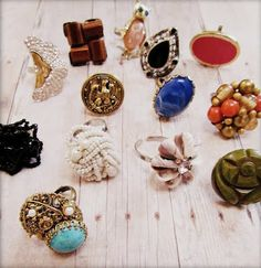 cool rings made from vintage clip on earrings