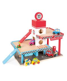 Another great find on #zulily! Wooden Gas Station Play Set #zulilyfinds