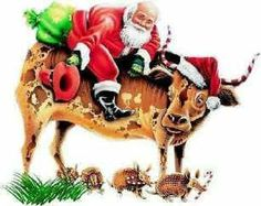 Cowboy Christmas art- cowboy Santa and longhorn stop for armadillos Christmas Games, Father Christmas, Christmas Printables, Christmas Art, Vintage Christmas, Christmas Holidays, Christmas Decorations, Christmas Ornaments, Holiday Decor