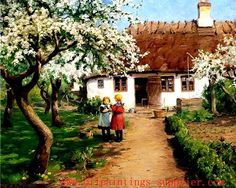 Two Little Girls In The Garden With A Kitten Under A Fruit Tree In Bloom Hans Andersen Brendekilde