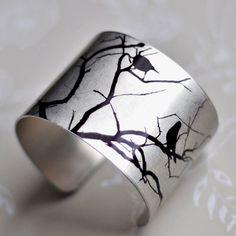 Blackbird and Branches Aluminum Metal Cuff - Customize Colors Personalize - Original Artwork Waterproof Resin - Gift