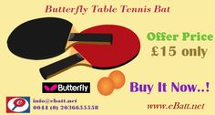 eBatt is Online Table tennis auction website. We offers butterfly Table tennis bat at just £15 only.Buy and play now..! Call us at +44 2036655558
