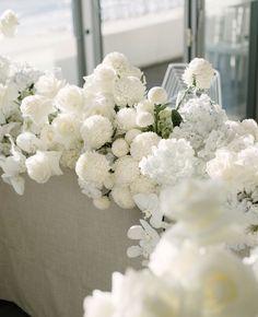 All White Wedding, Floral Wedding, Wedding Flowers, Bridal Table, Wedding Table, Wedding Day, Floral Centerpieces, Floral Arrangements, Centrepieces