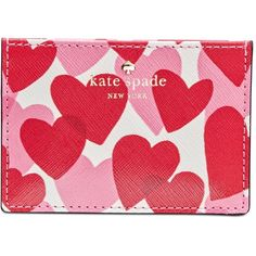 kate spade new york Yours Truly Print Card Holder ($50) ❤ liked on Polyvore featuring bags, wallets, heart party, kate spade bags, party bags, red party bags, kate spade wallet and pattern wallet