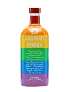 A bottle of Absolut Colors vodka, presented in a bottle displaying the pride flag, in support of LBGT community. The bottle was designed in collaboration with Gilbert Baker, the original creator of. Gilbert Baker, Bottle Display, Gin, Absolut Vodka, Raw Materials, Fun Drinks, Whisky, Vodka Bottle, Colors